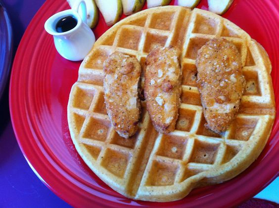 """""""Chicken"""" and Waffles with Trader Joe's Crispy Chickenless Tenders."""