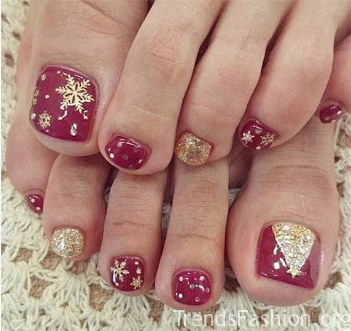 Merry Christmas Toe Nail Art Designs Ideas 2019 2020 Trends Fashion Women Dress Hairstyle Wedding Ideas Toenail Art Designs Christmas Gel Nails Christmas Nail Designs