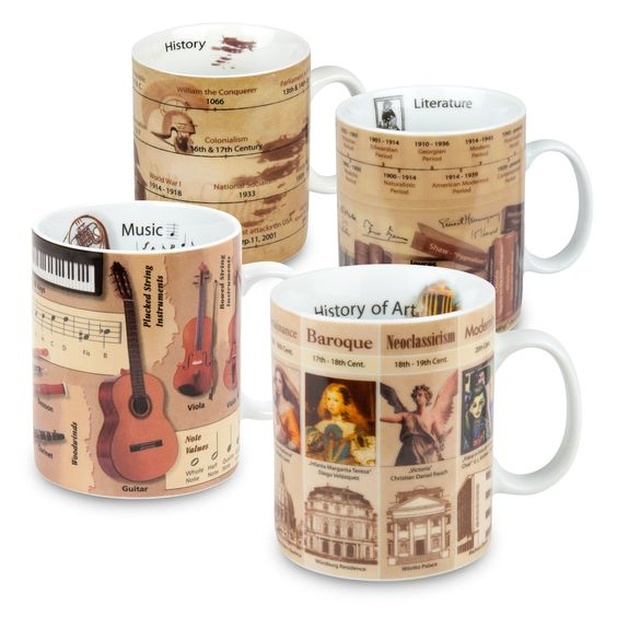 4 Piece Knowledge Assorted Mug Set