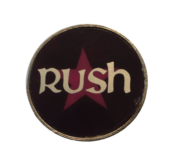 vintage RUSH metal enamel pin button cloisonne 2112 geddy lee fly by night