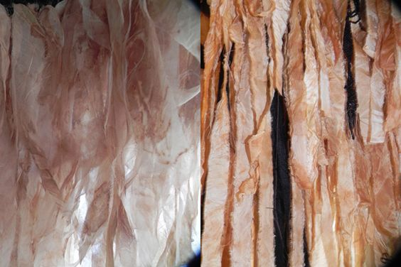 Silk fabric strips and scraps are refashioned into delicate, feathery tendrils on a cocktail dress. #zerowaste #organicfashion #GOTS #GreenEmbassy #hautecouture