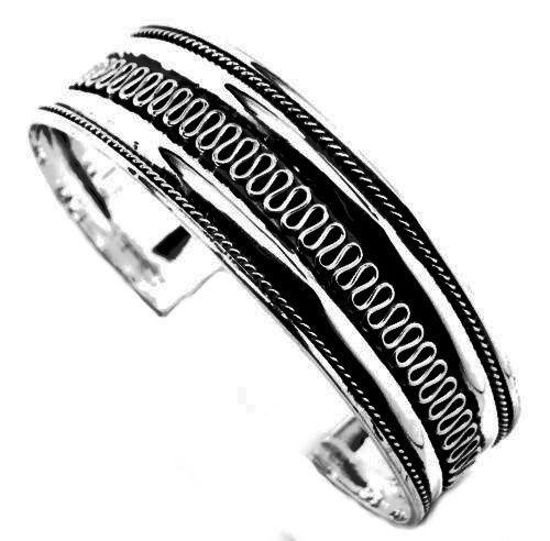 .925 Sterling Silver Cuff Bangle Bracelet Etched Swirl Design 20.3 grams NEW #TD #Cuff