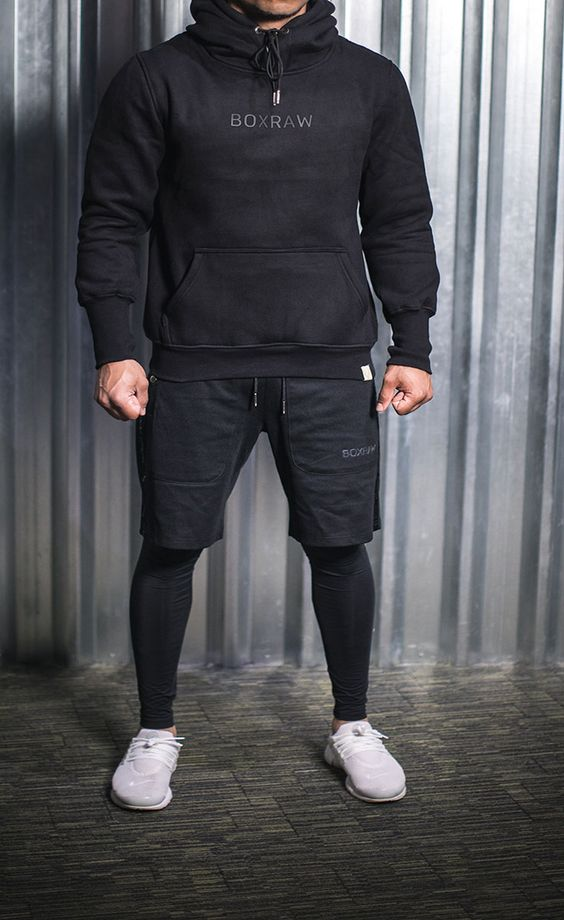 Feat Boxraw Dempsey Hoodie In Black Pep Shorts In Black Clothes