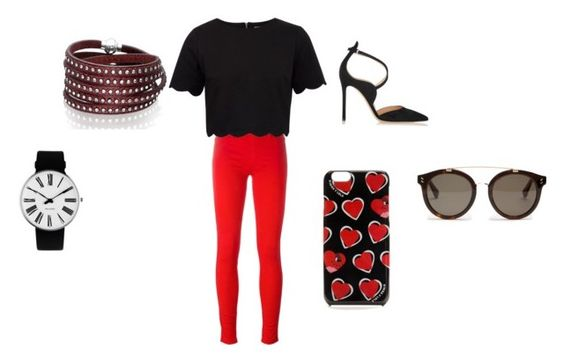 """""""Casual Valentines Day"""" by gmbilliard ❤ liked on Polyvore featuring Love Moschino, Rosendahl, Ted Baker, Sif Jakobs Jewellery, Gianvito Rossi and STELLA McCARTNEY"""