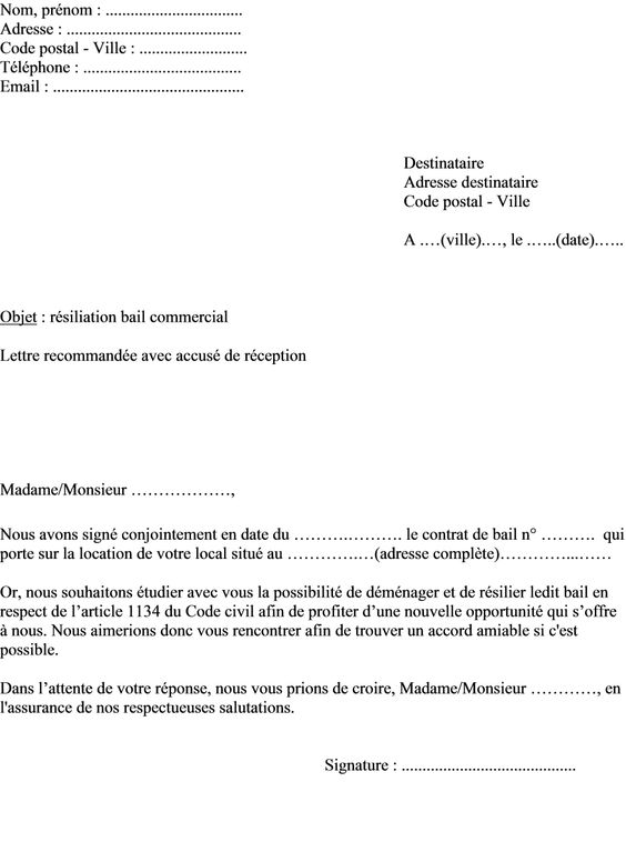 modele lettre resiliation bail commercial