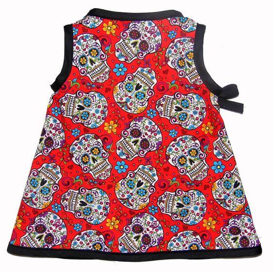 Sugar Skull - Skull Clothes - Girls Dress - Punk Rock - Kimono Dress - Day of the Dead - Toddler Dress - My Sugar Skulls