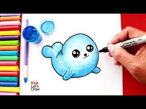 Como Dibujar Y Pintar Una Foca Kawaii How To Draw A Cute Seal Easy Youtube Como Dibujar Un Gato Como Dibujar Animales Faciles De Dibujar
