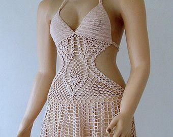Crochet White Full Lined Bikini Top Women Swimwear by formalhouse