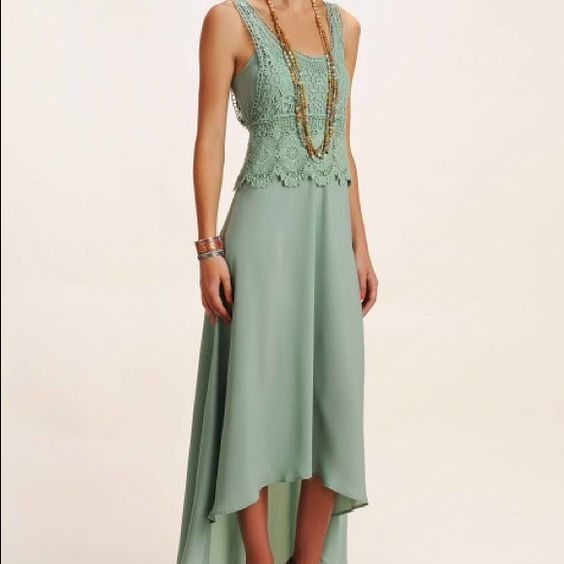 Collective Concepts Crochet Top Maxi Dress Mint green. Size small. Brand new with tags. Collective Concepts Dresses High Low