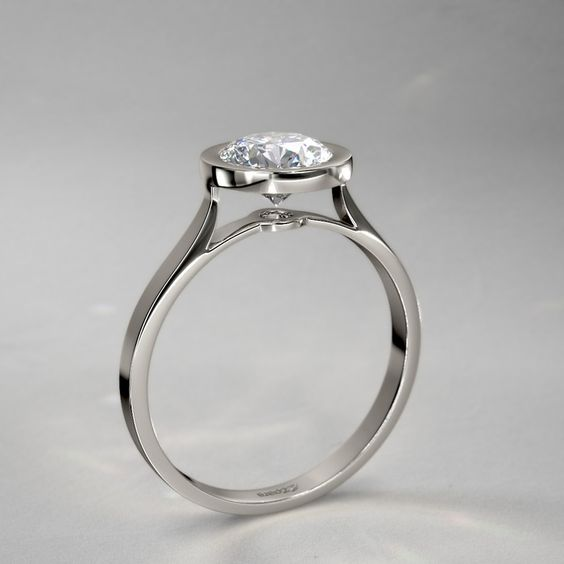 Exceptional Bezel Set Round Diamond Engagement Ring in 18k White Gold