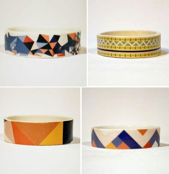 Geometric porcelain bracelets by Erin Lightfoot