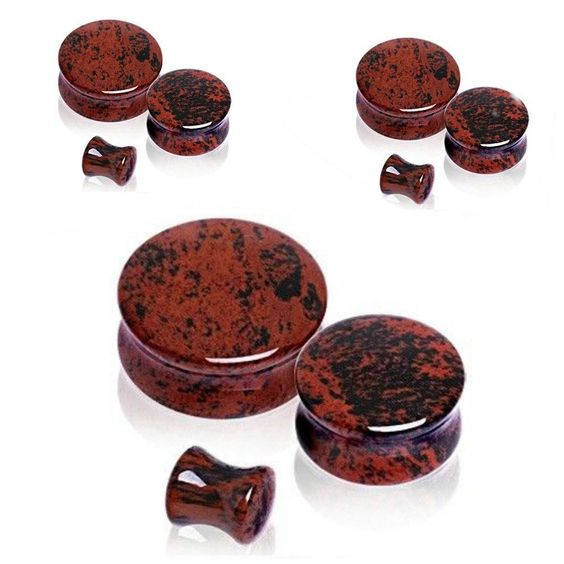 PAIR-Mahogany Obsidian -Organic Flesh Tunnels- Stone Ear Plugs-Ear Gauges #SoSceneeargauges
