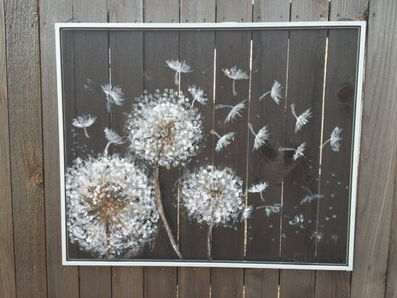 Recycled window screen,Dandelion,Floral ,Painting dandelions ,white dandelion flower ,flowers