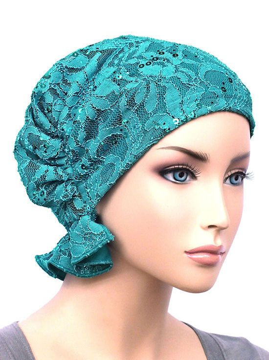 ABBEY-569#The Abbey Cap in Lace Sequin Turquoise: