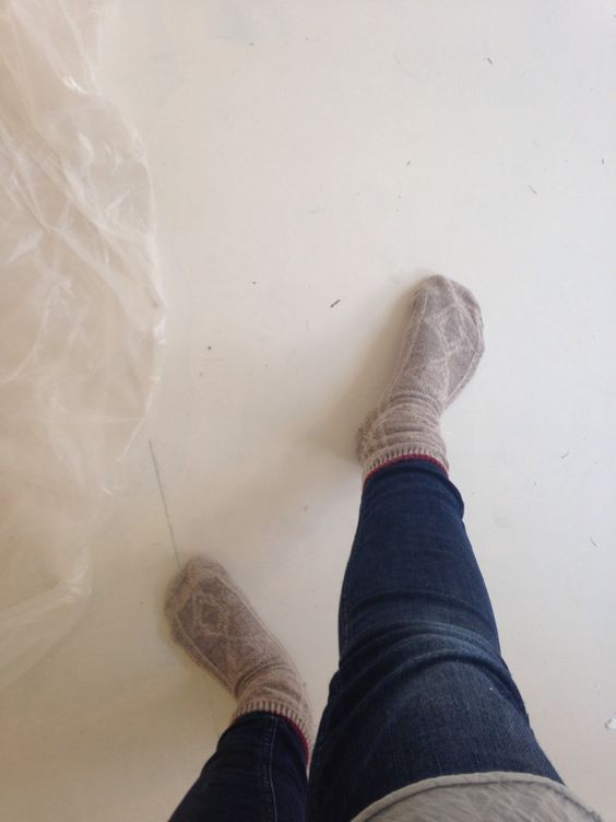 Painting in thick socks