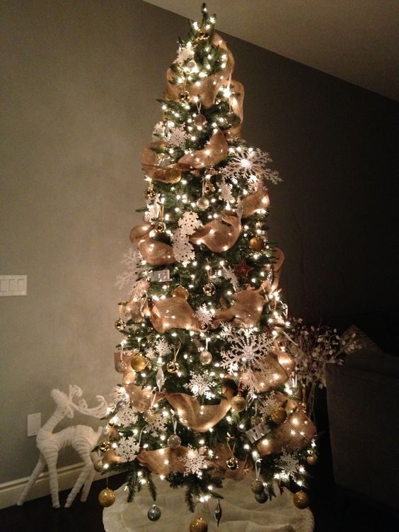 Decorated Christmas Trees Pictures With Burlap Burlap