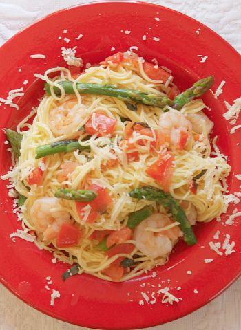 angel hair pasta with shrimp asparagus and basil dinner