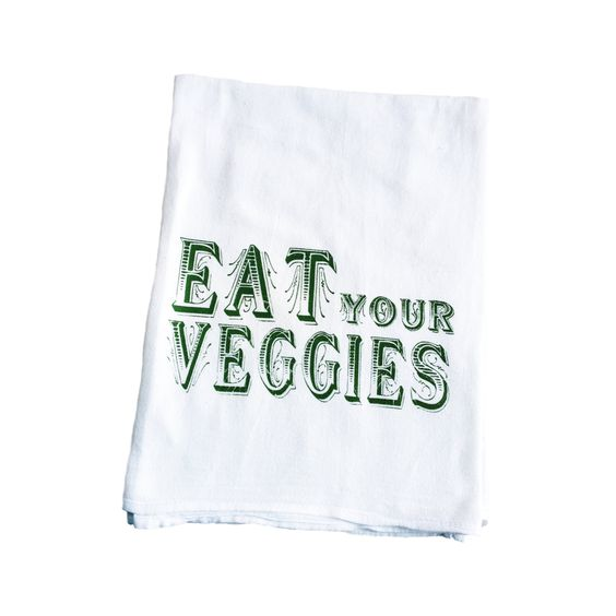 Because if your mom didn't tell you enough, you want a tea towel to encourage better eating habits. (Wink.) This super cute hand-printed towel boasts a lovely reminder, and it looks cute too.  Find the Veggie Time Tea Towel, as seen in the End of Summer Clearance: Kitchen Collection at http://dotandbo.com/collections/end-of-summer-clearance-kitchen?utm_source=pinterest&utm_medium=organic&db_sku=89824