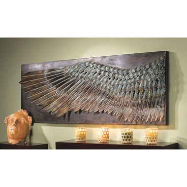 Wing of Icarus Sculptural Metal Wall Frieze