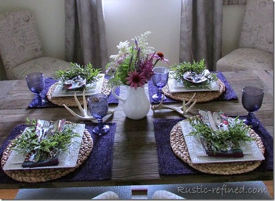 Antlers, Astilbe and Purple Tablescape         |          Rustic & Refined