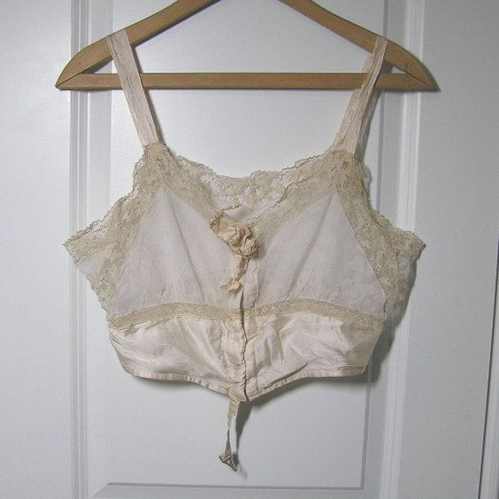 1920s Vintage Early Brassiere or Bra by Model, Made with Net, Filet Lace & Satin, Size 36, Front Hook Closure, Very Nice, After the Corset by VictorianWardrobe on Etsy