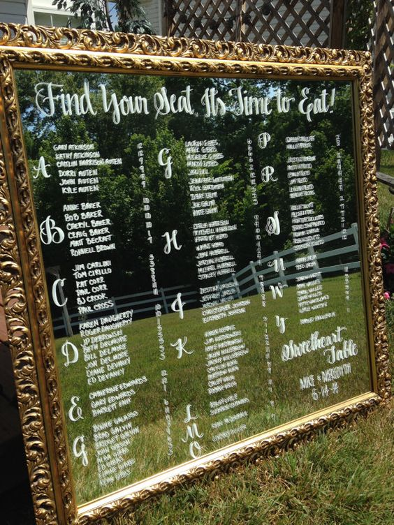 Hand Drawn Calligraphy Wedding seating chart Mirror by CoastalCalligraphy: