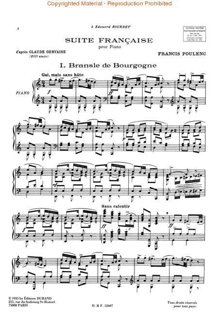 Suite Francaise d'apres Claude Gervaise