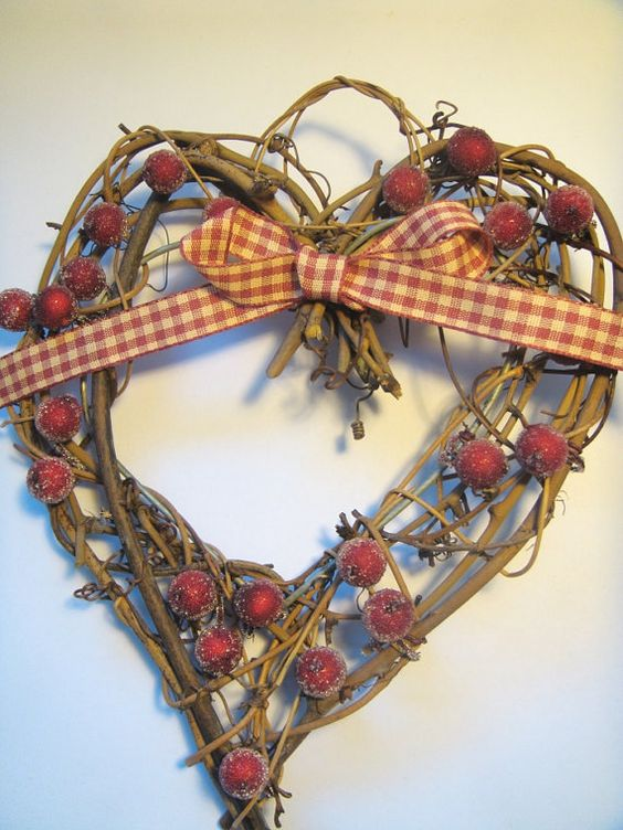 Christmas Wreath  Shabby Chic Heart by Welsheggdesigns on Etsy, £6.50