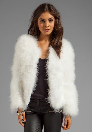 Line amp dot marabou faux fur jacket in white at revolve clothing free