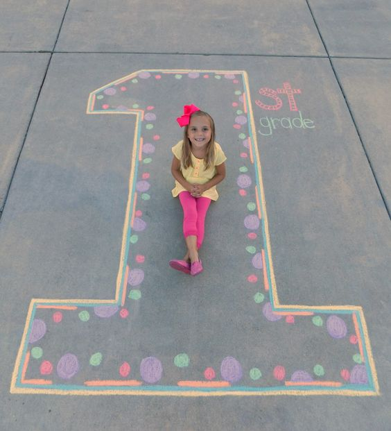 1st Grade back-to-school sidewalk chalk picture!