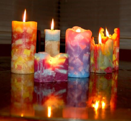 Handmade colorful candles