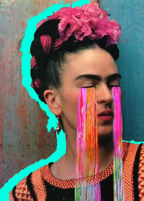 "Collage of Frida Kahlo with rainbow tears using the 1939 Nickolas Muray photo ""Frida with Olmec Figurine"" (detail)"