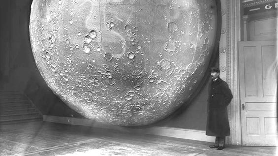 """What you're seeing here is an 1898 photograph of Thomas Dickert and Johann Friedrich Julius Schmidt's model moon, which was constructed of """"116 sections of plaster on a framework of wood and metal."""""""