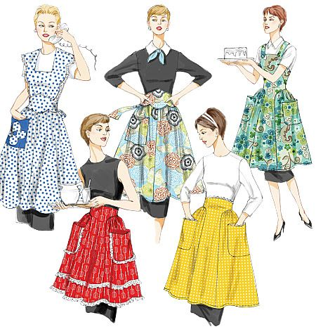 """Aprons -  I made the white and blue polka dot apron  - top left view -  had to cut down the skirt multiple times to get something that would fit my petite """"modern"""" daughter!  LOL  This is a FUN pattern,  truly designed to go over those long full crinoline skirts of the 50s!  I ended up with a modified version """"retro look"""" that I will pin when I figure out how!"""