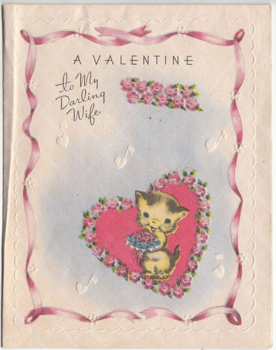 Vintage Unused Kitten with a Rose Valentine Greeting Card