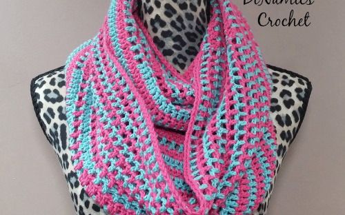 Candy Stripes Cowl Pink and Green