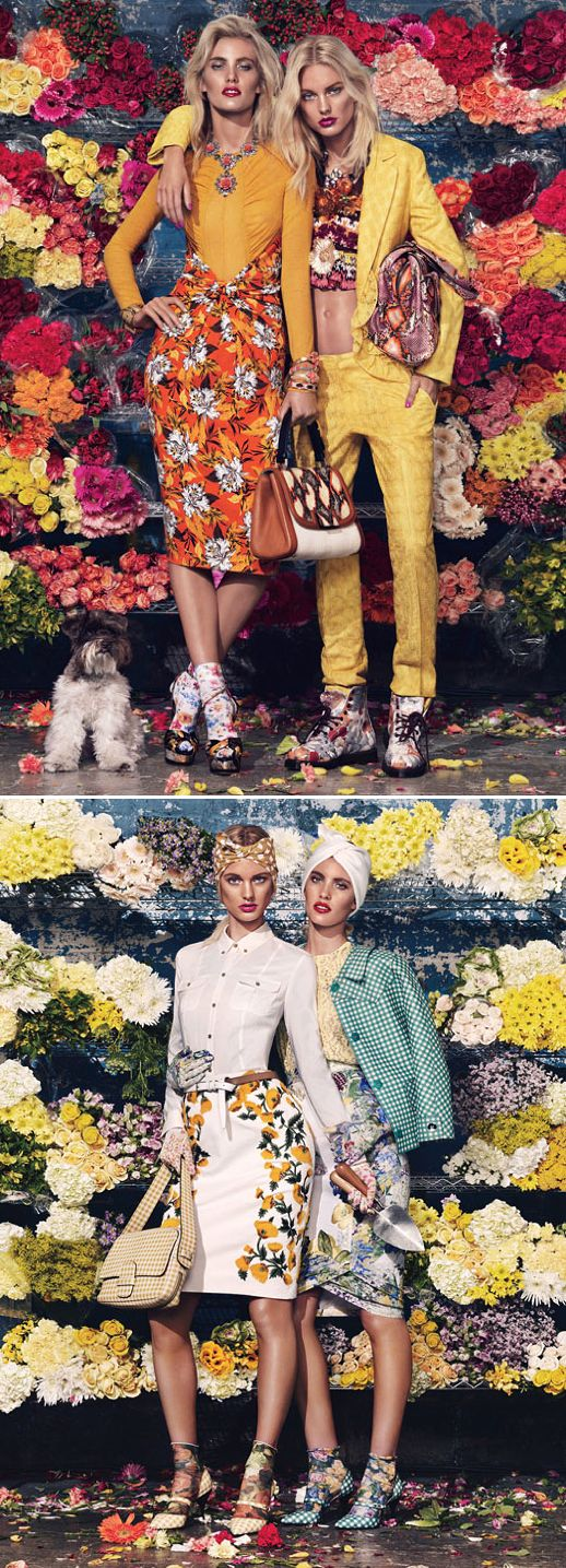 W MAGAZINE BLOOM TOWN GIOVANNA BATTAGLIA SPRING SUMMER FLORAL MIXED PRINTS SKIRTS SOCKS HEELS BOOTS BRIGHTS 50S FIFTIES WANG GINGHAM FLOWERS METALLIC JACKET SILVER PROENZA TROPICAL HAWAIIAN PRINTS BEANIE CITRUS LADY LIKE 1: