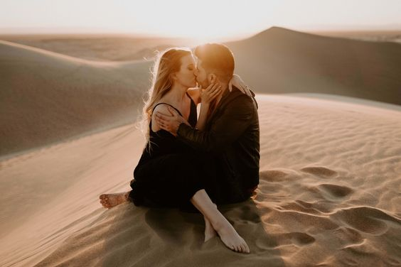 I love shooting at the glamis/imperial sand dunes in yuma arizona. This beautiful couple did their anniversary photos there and at the end of the session the moon came out to say hello. Photo by Erika Greene Photography. Arizona wedding + elopement photographer.