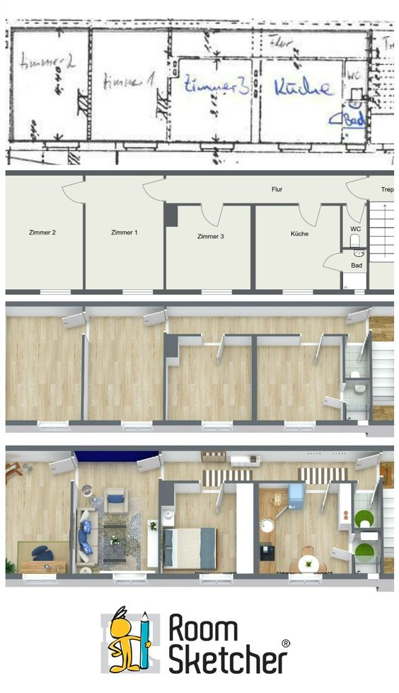 2d house plans into 3d house design plans for Turn floor plan into 3d model