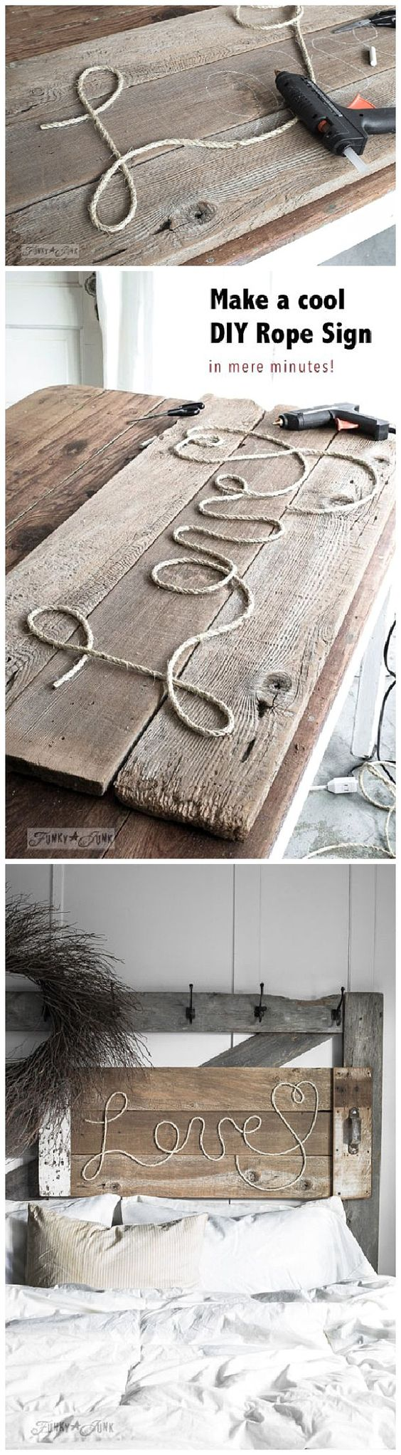 Make a cool DIY Rope Sign like this one... in minutes! So cool, cheap and fun to personalize for anyone on your gift list! DIY Rope Sign Tutorial | funkyjunkinteriors-donna: