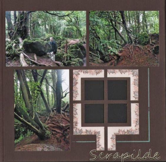 Scrapilde-Pagina 3 uit album 'puzzlewood', bestaande uit 5 (voorgesneden) pagina's voor en achterkant bewerkt, gabarit brussel-mexico, kijk voor de ganse serie op mijn blog !