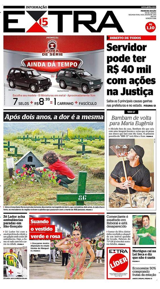 14-01-2013 - Capas do Jornal Extra - Extra Online