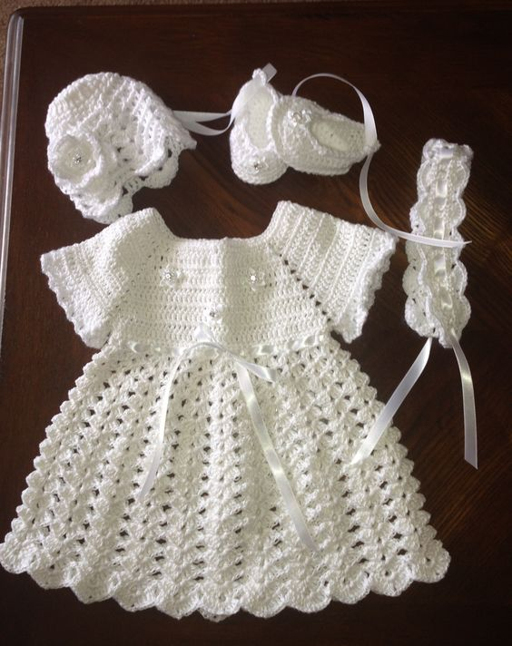 White crochet baby dress