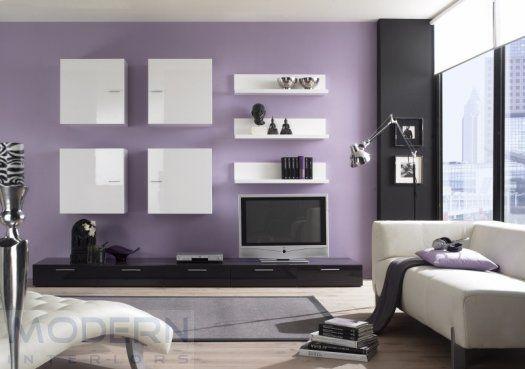 20 fotos e ideas sobre cómo decorar y pintar un salón de morado - purple and grey living room