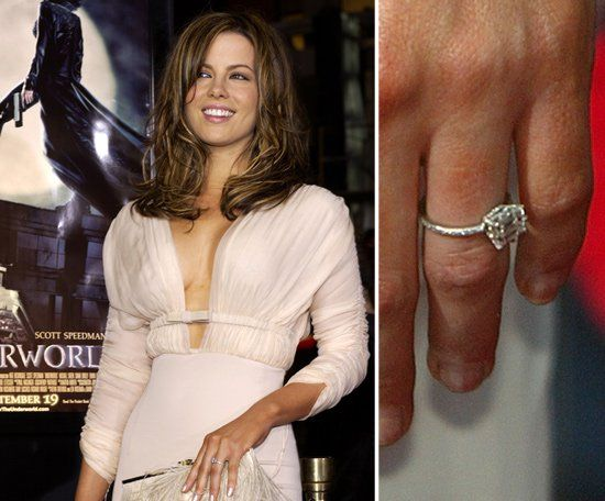 Pin for Later: The Very Best Celebrity Engagement Rings Kate Beckinsale Len Wiseman proposed to Kate Beckinsale in June 2003 with a horizontally set emerald-cut diamond designed by Neil Lane.