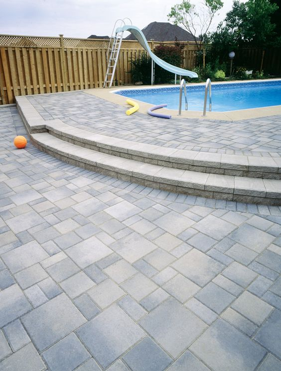 Raised concrete paver pool deck paver pool party for Best pavers for pool deck