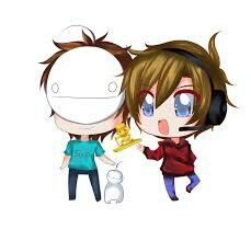 Chibi pewdipie and friend by my friend