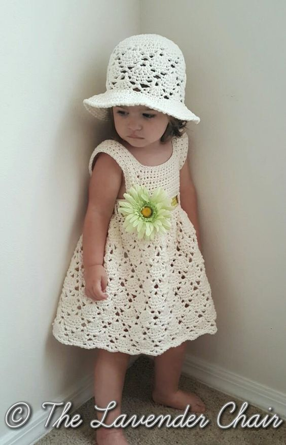 Free Crochet Hat Patterns For 1 Year Old : Vintage Toddler Dress and Hat - Free Crochet Pattern - The ...