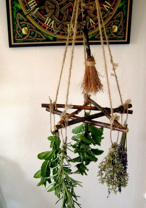 Handmade positively pagan wiccan pentagram besom herb for Witches kitchen ideas