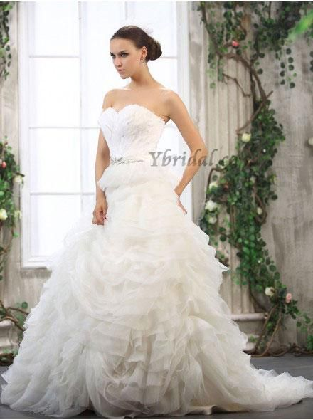 CLICK IMAGE TWICE FOR PRICING AND INFO:) #women #womendresses #eveninggown #cocktaildress #wedding #weddinggown #eveningdresses #prom #debut  Elegant Ball Gown Sweetheart Satin and Tulle Chapel Train Wedding Dress WBG08394-L